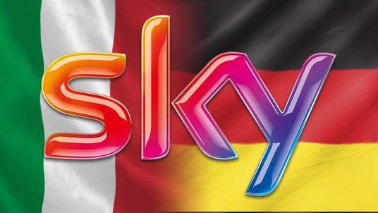 Sky logo with Italian and German flags