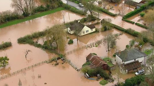 Aerial shots of flooded fields