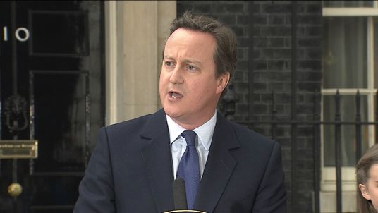 David Cameron speaks before leaving Downing Street for the last time