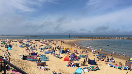 Sea Palling beach, where a man died after swimmers got caught in a rip tide