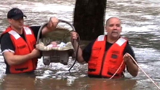 Baby rescued as torrential rains hit Tennessee.