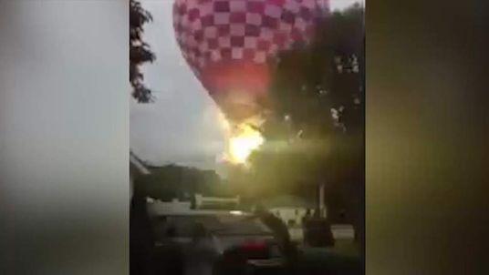 Hot air balloon hits power lines