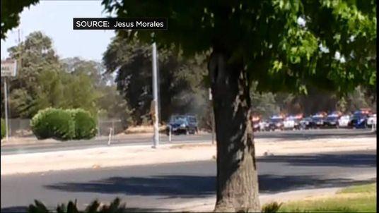 Bank robbery gunfight in California