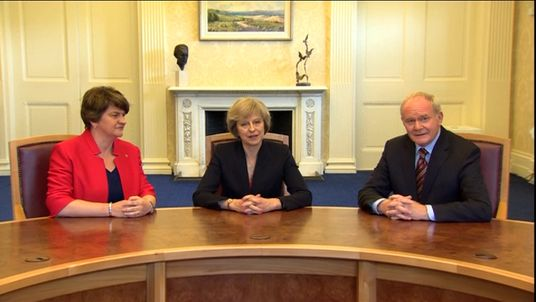 Arlene Foster, Theresa May and Martin McGuinness meet