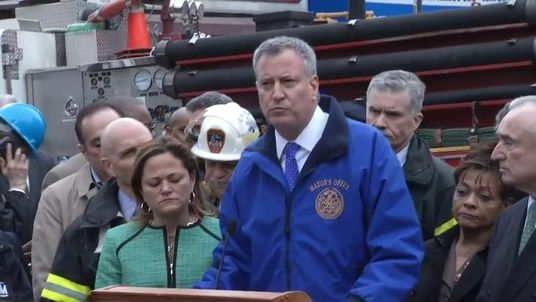 New York Mayor Bill De Blasio at scene of collapse