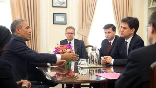 Labour leader Ed Miliband talks with US President Barack Obama.