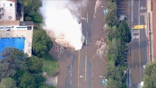 The burst main on Sunset Boulevard
