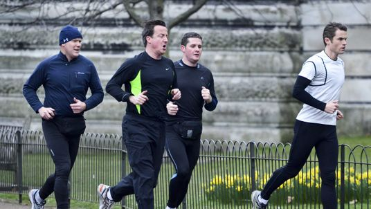 David Cameron out running with personal fitness trainer Matt Roberts in 2012