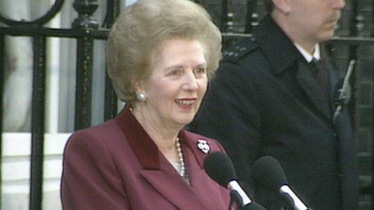 Margaret Thatcher says goodbye as she leaves Downing Street