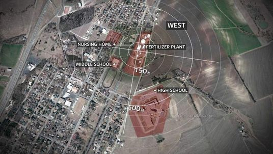Map of fertiliser factory explosion in Texas