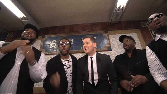 Michael Buble singing in New York subway