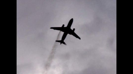 A still taken from a video of the plane, captured by Baba Sariffodeen