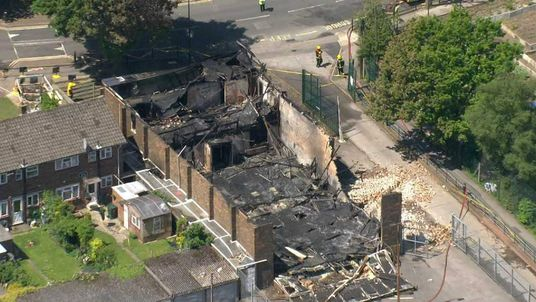 The destroyed Islamic community centre in Muswell Hill, London