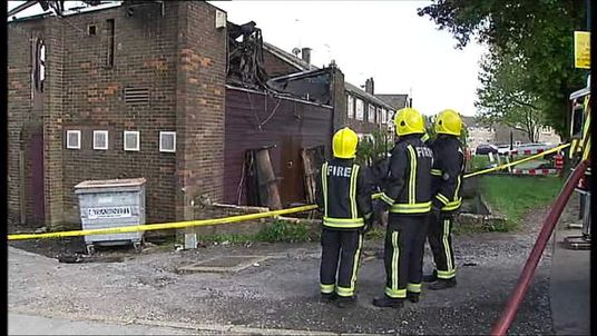 Firefighters at the scene of a fire at a mosque in Muswell Hill, north London