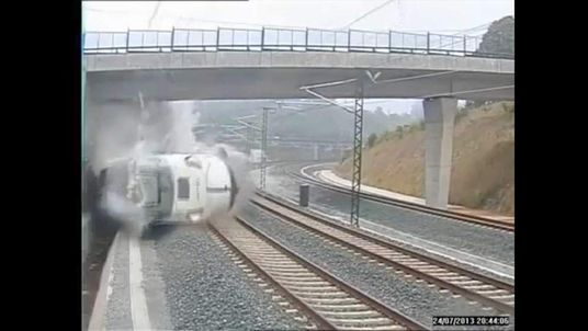 CCTV footage of the moment the high speed train derailed, killing 78 people