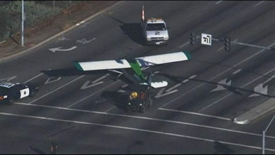Plane lands on road in California