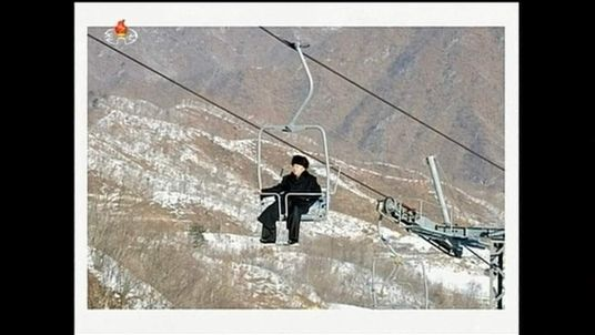 Kim Jong-Un at newly built North Korea ski resort.
