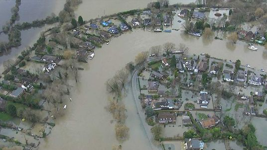 Homes flooded as the River Thames breaks its banks