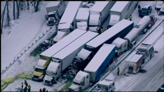 Multiple lorry pile-up in Michigan City, Indiana