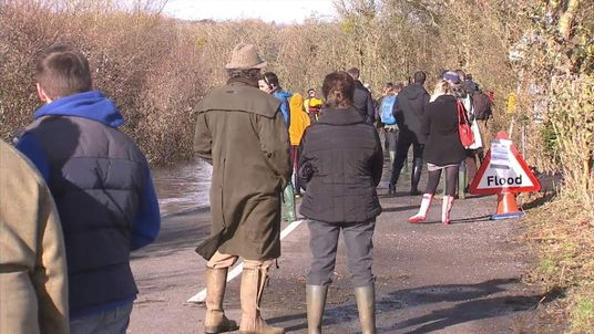 Residents of Muchelney wait to meet Prince Charles
