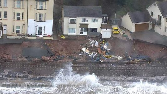 The destruction of the Dawlish railway