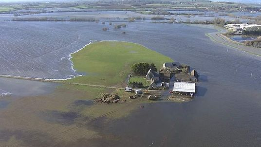 Aerial shots of the flooding in Somerset