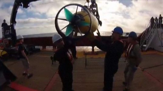 The sub being used to search for wreckage of the missing Malaysia Airlines flight is launched.