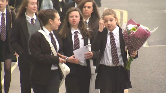 Students arrive at corpus Christie school leeds