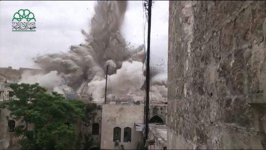 Aleppo Syria huge explosion