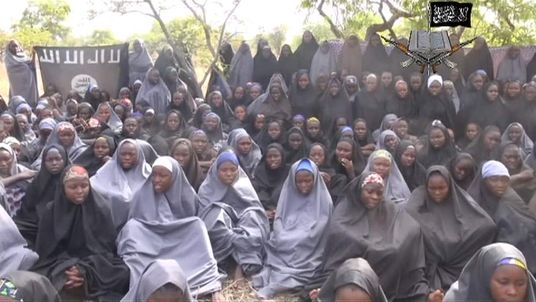 Screengrab of video released showing some of the kidnapped Nigerian schoolgirls
