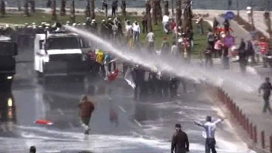 Water Canon being used on protesters in Turkey