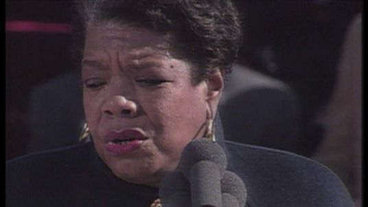 Maya Angelou speaks at the inauguration ceremony of Bill Clinton in 1993.
