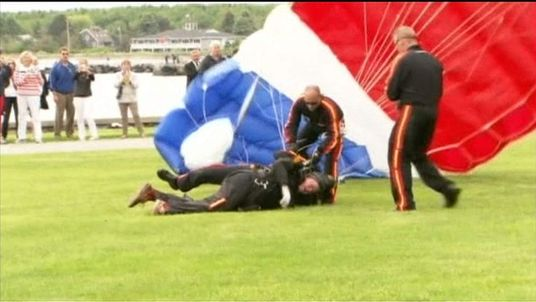 Former US President George H W Bush skydives for his 90th birthday
