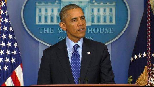 President Obama speaking after meeting with National Security team
