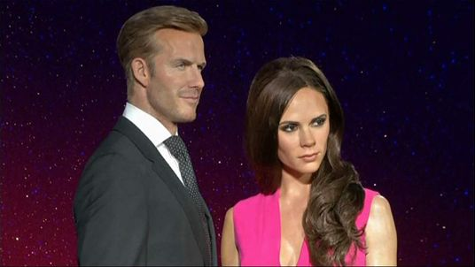 Waxworks of David and Victoria Beckham at London's Madame Tussauds