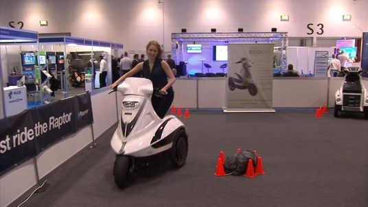 Sky presenter Gemma Morris tries out one of the gadgets being shown off at London Tech Week 2014