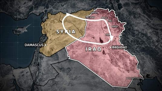 "The rough outline of ISIS's ""caliphate""."