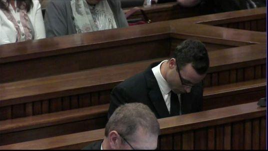 Oscar Pistorius pictured in court