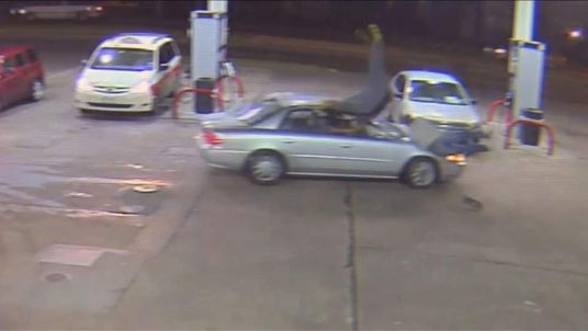 Texas motorist ploughs into two men at a Houston gas station