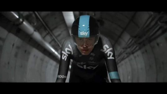 Chris Froome cycles from England to France under the Channel