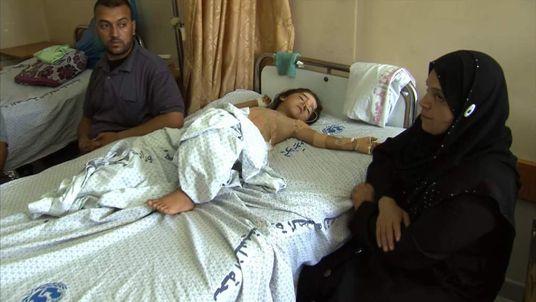 Wounded child in Al-Shifa hospital in Gaza City