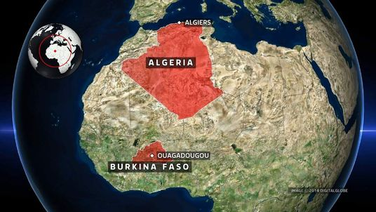 A map showing Algeria and Burkina Faso