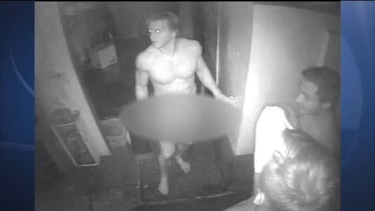 Three naked burglars caught on CCTV stealing hamburgers