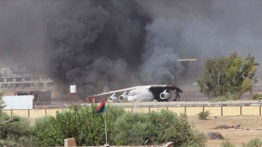 Plane destroyed during clashes at Tripoli International Airport, Libya