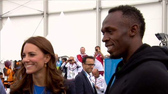 Usain Bolt meets the Duke and Duchess of Cambridge
