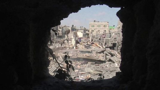 The remains of a family home in Gaza
