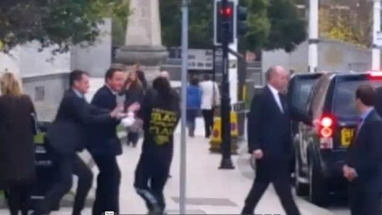 David Cameron 'shoved' by man in Leeds