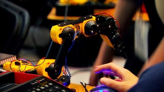 screengrab of robot arm from FUZE at Bett Swipe BEST IMAGE