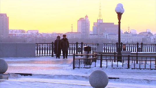 Blagoveshchensk street scene at sunset