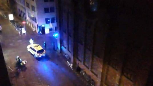 Screen grab of the scene of the Copenhagen synagogue shooting